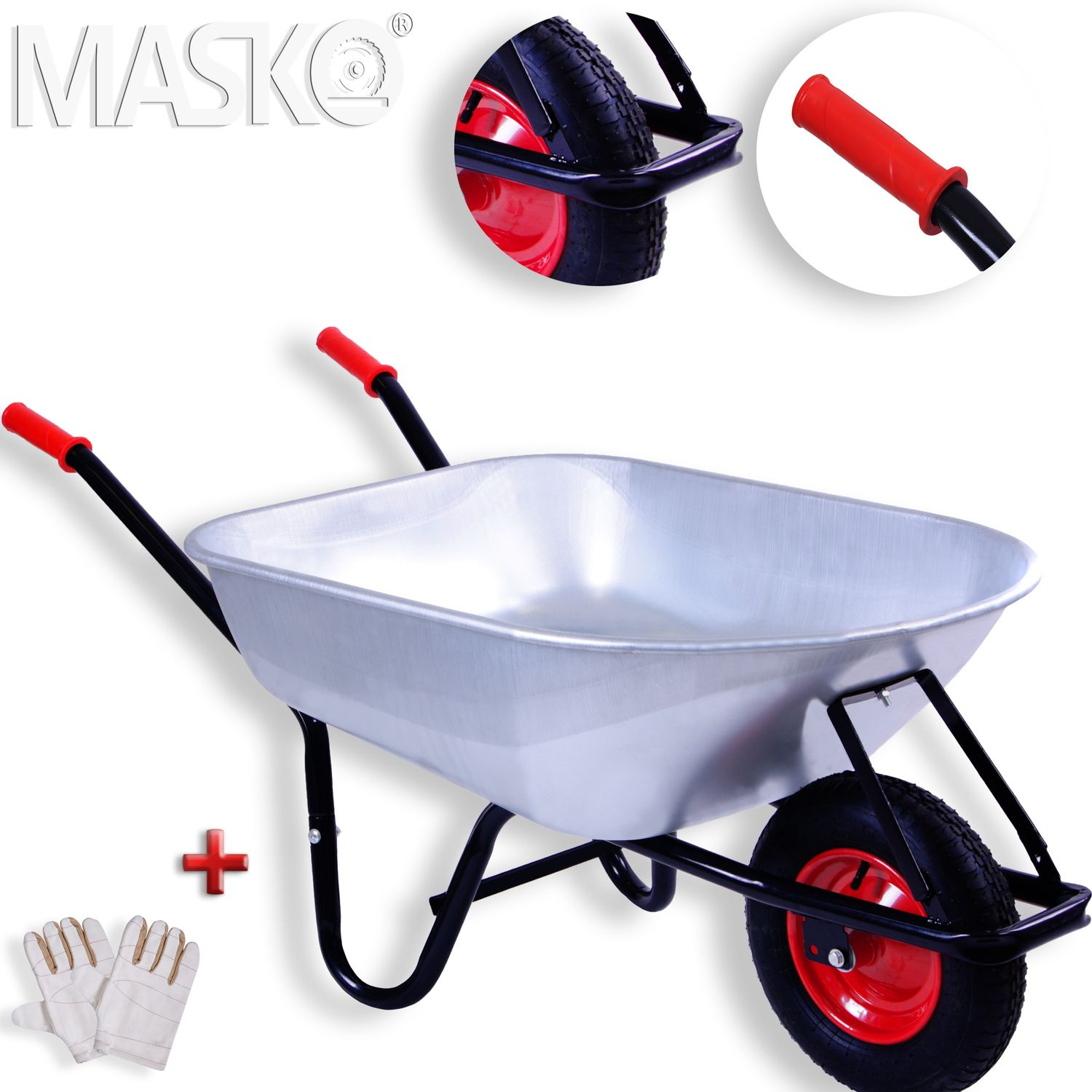 masko wheelbarrow 100 liter garden barrow 200 kg garden wheelbarrow galvanised ebay. Black Bedroom Furniture Sets. Home Design Ideas