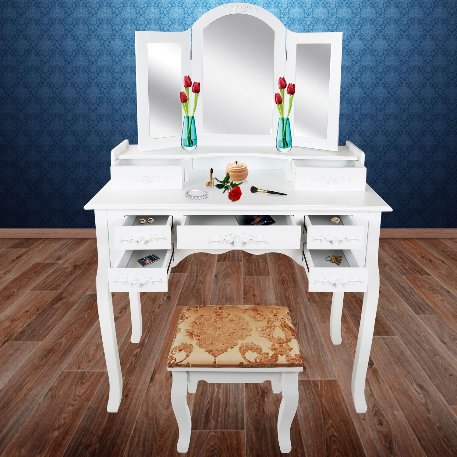 kesser dressing table mirrors drawers make up station. Black Bedroom Furniture Sets. Home Design Ideas