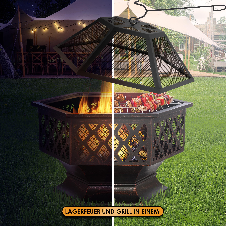 KESSER® Feuerschale mit Grillrost Ø 20, Multifunktional Fire Pit ...